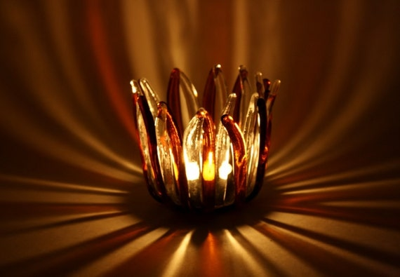 Candle Holder Fused Glass Tealight Holder