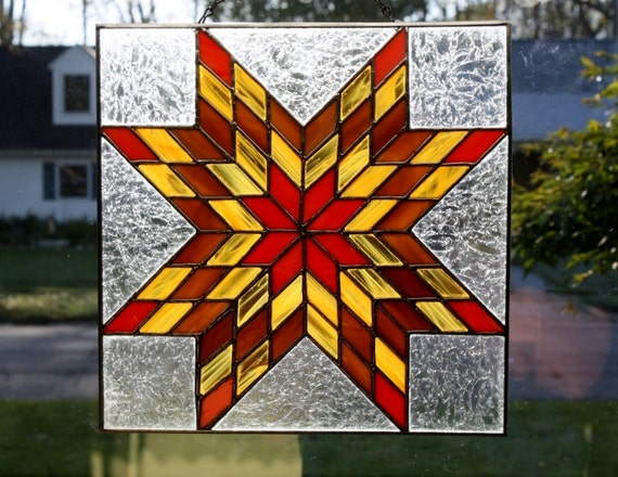 Stained Glass Panel Prairie Star Quilt Block