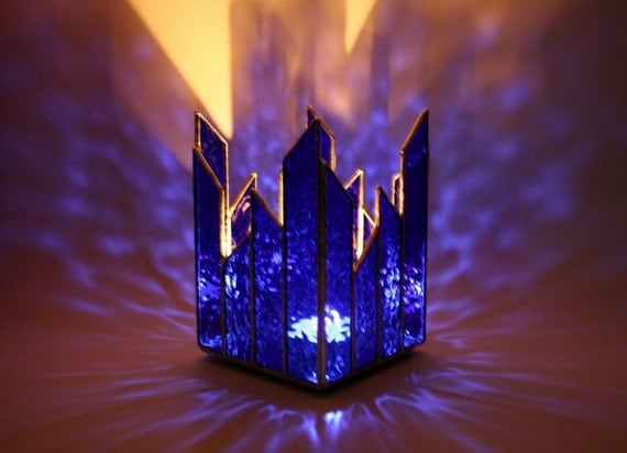 Stained Glass Candle Holder Cobalt Blue