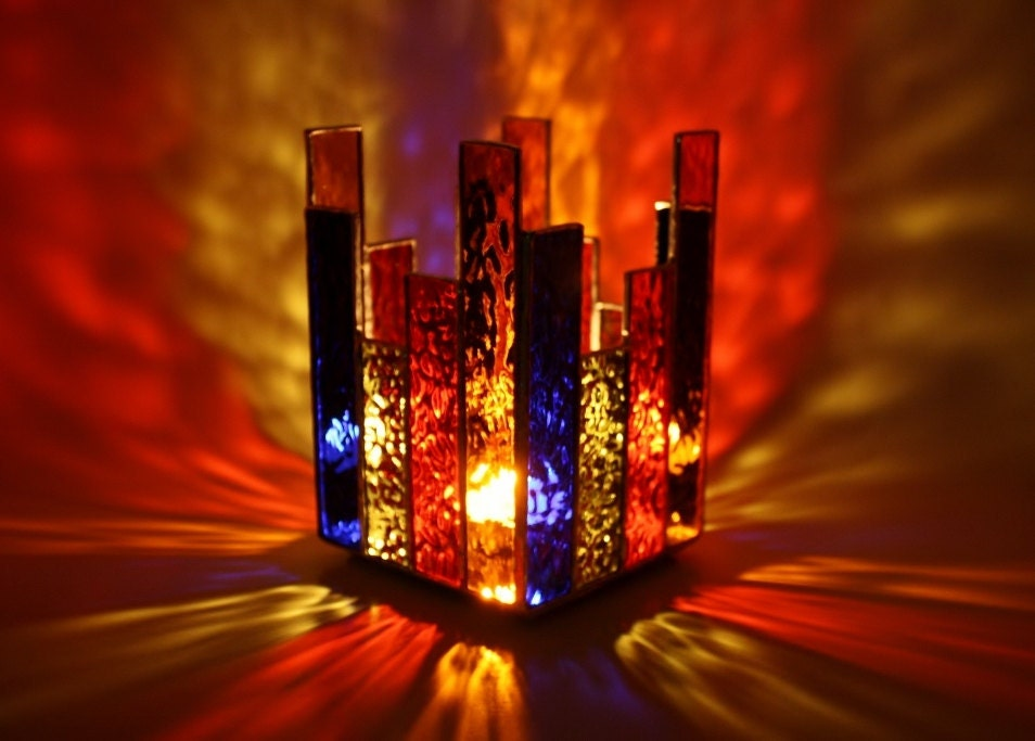 Stained Glass Candle Holder Multicolor by GailsGlassGarden on Etsy
