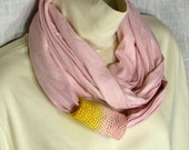 Jersey Circle Scarf -  Pale Pink Infinity Loop with Crochet Accent