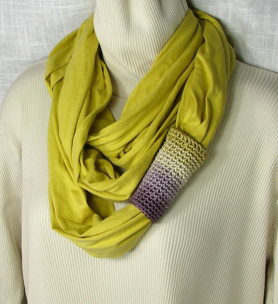 Infinity Scarf - Jersey Loop Circle in Bamboo with Purple Lavender Ivory Citrine Crochet