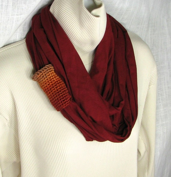 Infinity Scarf -   Dark Rust Jersey Loop Circle with  Taupe Rust Copper Crochet