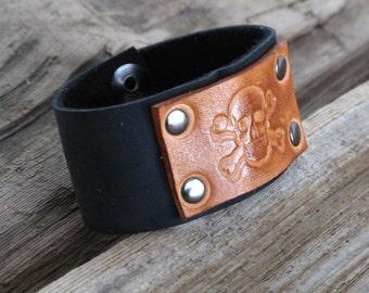 Leather Cuff, Black Skull Cuff, Hand Stamped Cuff