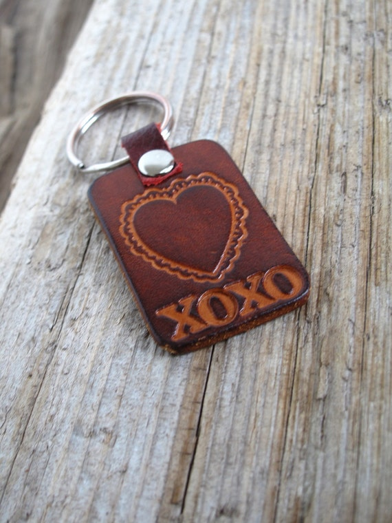 Leather Hugs and Kisses Heart Shaped Hand Stamped Key Chain