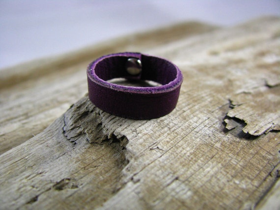 Sale purple  Leather  ring band