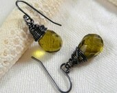 Olive Green Wire Wrapped Earrings, Vintage Look, Army Green, Fall Fashion