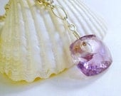 Purple Amethyst Necklace with Sterling Silver Chain, Modern, February Birthstone