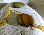 Chocolate Brown Earrings with Shell and Gold Chain, Fashionable, Modern