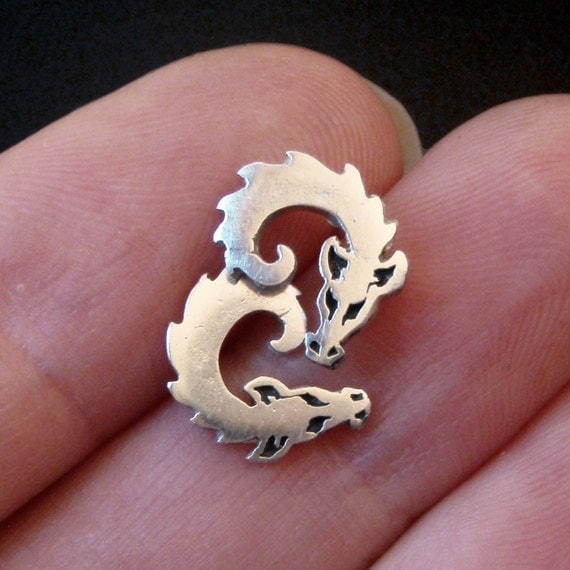 Dragon Earrings - Curled-up Baby Dragons - Silver Studs - Dragon jewelry - Ready to Send!