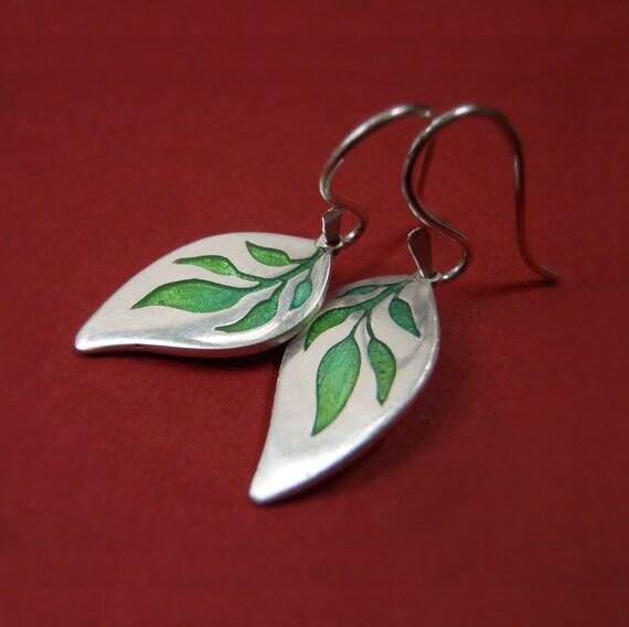 Silver and Green Earrings - Jasmin Leaf Fine Silver Dangles