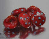 Set of 5 Glass Lampwork Button in Red with Turquoise Polka Dots Handmade in UK SRA FHFteam Y3