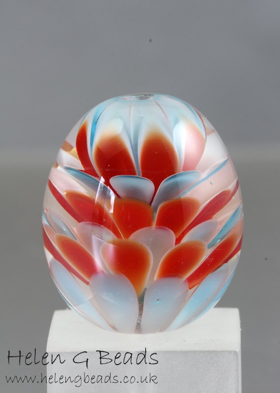 Carousel Lampwork Focal Bead Handmade in the UK SRA FHFteam Y3
