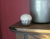 Pincushion Vintage Tin Jello Mold Reclaimed Vintage Fabric