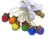 Wooden Acorns Six Rainbow Hand Painted Ornaments Hemp Cord Christmas Holiday Decor Woodland Forest Wedding Gift Tag Adornment