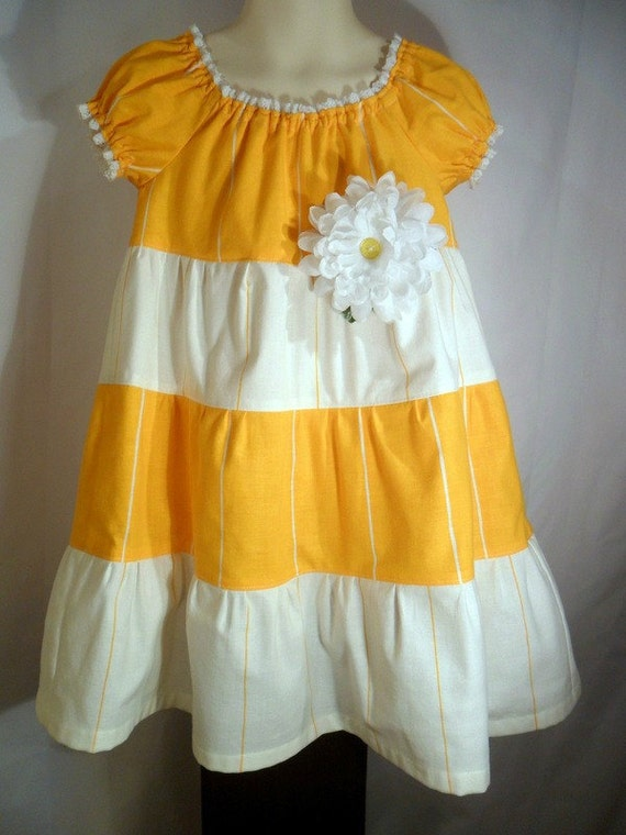 Toddler Peasant Dress 3T Easter White Yellow Stripe