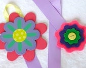 Hair clip bow keeper with bright flowers