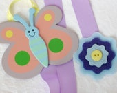 Hair clip bow keeper lavender butterfly and felt flower