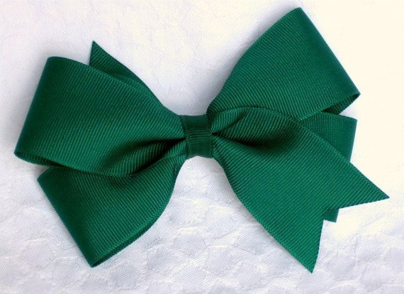 Evergreen holiday hair bow clip