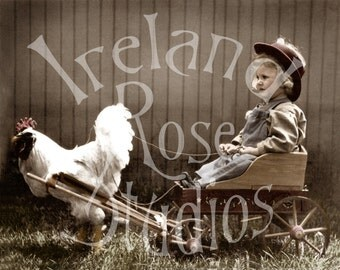 Gigi and her Poultry Cart-Digital Image Download