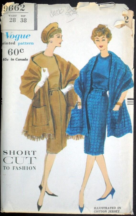 1958  Uncut Vogue Sewing Pattern 9662 Dress and Stole Sale