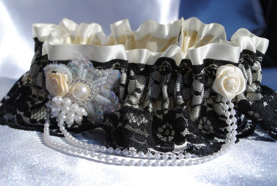 Wedding Garter , Stunning Heirloom Keepsake garter ivory and black lace vintage, satin and lace, pearls, beads, sequins