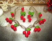 CHERRIES GALORE--- Authentic 1940's Pinup Girl Celluloid Necklace and Earrings