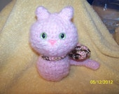Izabo with a bow crochet cat kitty super soft and fuzzy SO soft