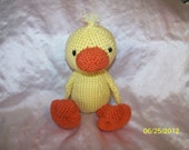 Crochet Duck Doll ANY colors you want Can be made to squeak or rattle