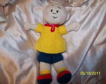 Crochet Caillou doll Bald boy cartoon children's character doll
