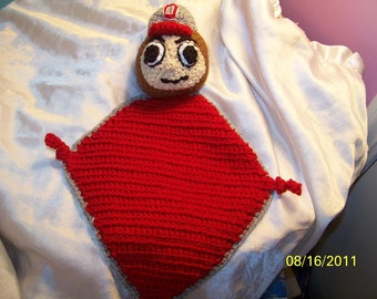 Crochet football Sports team mascot baby blanket lovey ANY colors or team you want