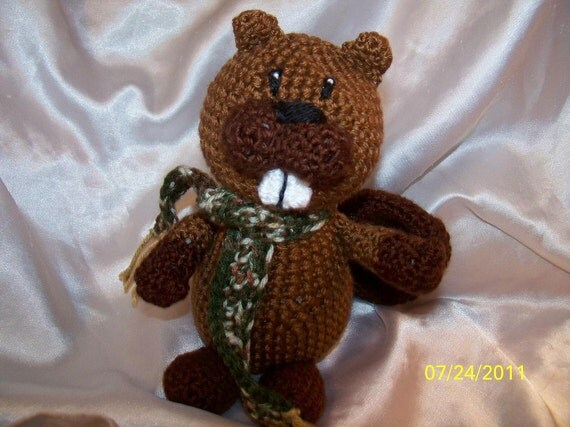 Mr Beaverton the crochet Beaver with scarf Scarf can be any color you want