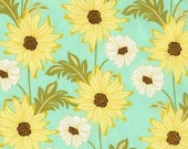 ON SALE 1 Yard Meadowseet 2 Daisy Path in Robin's Egg  by Sandi Henderson