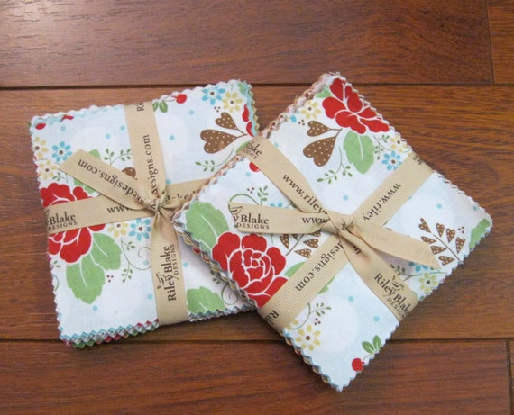 ON SALE 1 Riley Blake Sew Cherry Charm Pack (27) 5 x 5 squares (Last One)