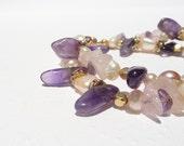 Amethyst Bracelet, Gold Gemstone Bracelet, Gemstone Bracelet, Rose Quartz Bracelet