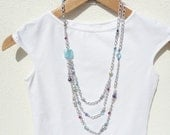 Multi Strand Beaded Necklace, Light Blue Necklace, Long Silver Chain Necklace