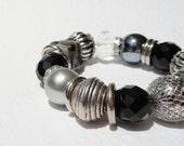 Boxing Day Sale Black Stretchy Bracelet with Silver, Chunky Bracelet, Bold Black Bracelet, Black Beaded Bracelet