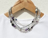 Seed Bead Necklace, Multi Strand Beaded Necklace, Black Swarovski Crystal, Silver, Purple