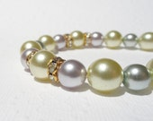 Pastel Pearl Necklace, Pearl Choker Necklace, Beaded Pearl Necklace, Lavender, Light Blue and Light Green with Gold