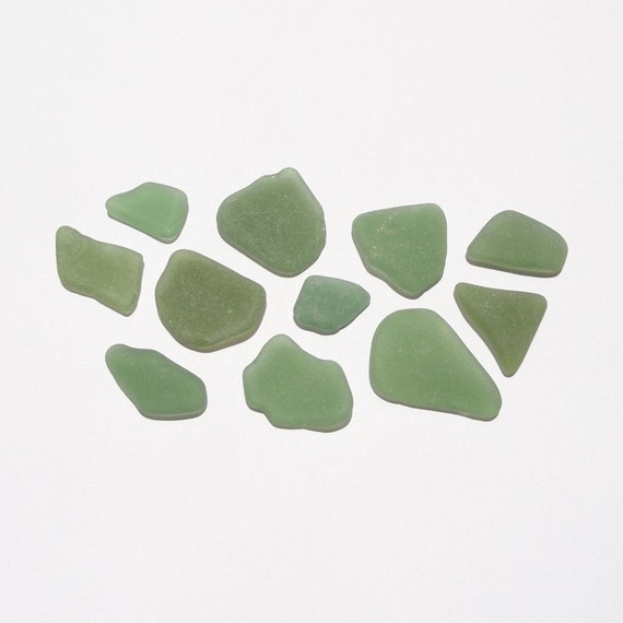 Green Sea Glass Frosted Surf Tumbled for Jewelry Making and Home Decor
