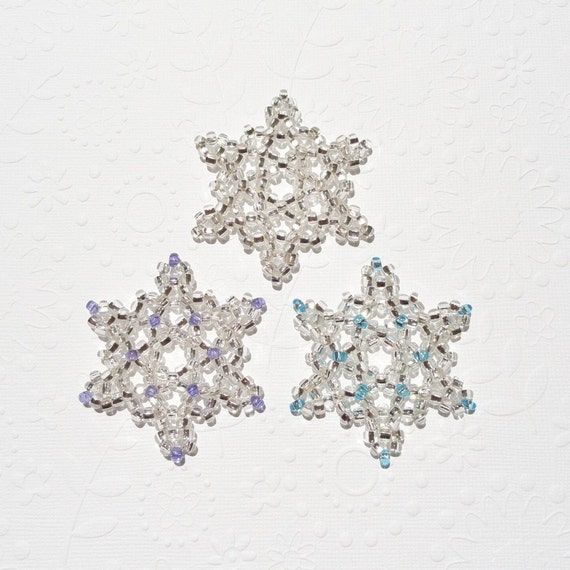 Christmas Snowflake Ornaments Silver with Lavender Purple and Light Blue Set of Three