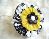 Ponytail Holder Hair Bow Mix-n-Match YoYoPonytail Holder Hair Bow Mix-n-Match YoYo Rings Black White Yellow