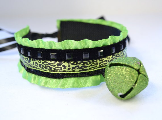 Rave Green and Black Kitten Collar with Bell