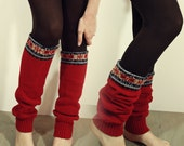 Red Fairy Isle Upcycled Legwarmers