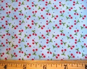 Kym Bowles for Marcus Brothers Textiles Sweet Little Red Double Cherry Cherries on Blue Out of Print Retro  -  half yard
