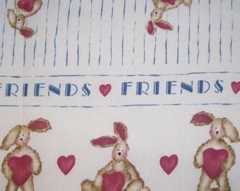 Daisy Kingdom Heart Bunny - Past & Presents Bunny Hearts Stripe on Cream Rare Out of Print Fabric  -  half yard