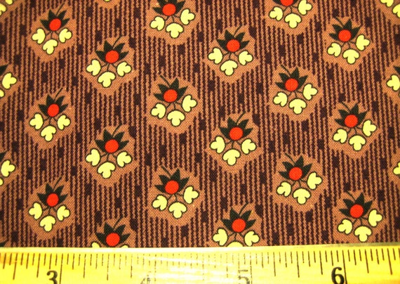 From the Collection of Judie Rothermel from Marcus Brothers Textiles in Mauve with Red and Cream Floral-Civil War- half yard