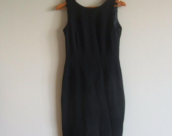 Vintage Dress, woman dress, formal gown, Little black crepe dress