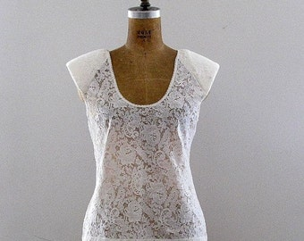 LACE sheer floral tank sleeveless blouse