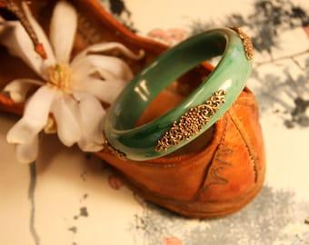 Jade Brass Bangle, Plastic, Stone